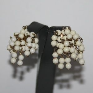 Vintage gold and cream bead earrings